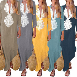 916ec240e8 Linen abaya dresses online shopping - LAAMEI Womens Paisley Long Sleeve  Long Maxi Dress Baggy Cotton