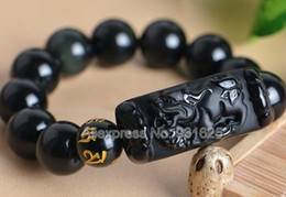 Discount men luck bracelet - Natural Black Obsidian Carved PiXiu + 8mm - 20mm Round Beads Stretch Elastic Bracelet Good Luck Fashion Jewelry for woma