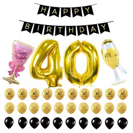 party supplies banners Canada - Wholesale-ZLJQ 35pcs 40th Happy Birthday Banner, Number 40 Gold Foil Balloon Balck Gold Latex Balloons for 40 Years Old Party Supplies