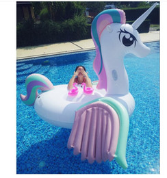 Discount wholesale inflatable swim ring - Inflatable Unicorn Gaint Pool Float Mattress Sunbathe Mat Air Swimming Ring Circle Beach Sea Water Party Toys 220*260*16