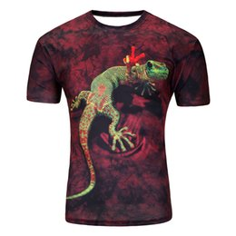 960aa50aa91 Fashion 2018 New Cool T-shirt Men 3D lizard print Tshirt Short Sleeve  Summer Tops Tees T shirt Male s-6XL