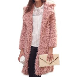 Chinese  2017 Winter New Women Long Sleeve Lapel Hair Furry Long Jacket Coat Lamb Wool Female Clothes Casual Hot Sales manufacturers