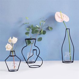 modern tabletop decor Australia - 1psc Drie Iron Shelving Flower Vase Artificial Flowers Vase Garden Modern Brief Creative Decor Home Decorations 8 style