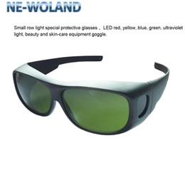Linha pequena luz especial óculos de proteção, LED vermelho, amarelo, azul, verde, luz UV, beleza e óculos de equipamentos de cuidados da pele.