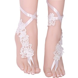 $enCountryForm.capitalKeyWord UK - Sexy women lace anklet white Foot Chain Barefoot Sandals Anklet Embroidery Flower Bride wedding prom accessory Foot jewelry