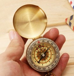 NavigatioN tools online shopping - Brass COMPASS Pocket COMPASS Sports Camping Hiking Portable Brass Pocket Fluorescence Compass Navigation Camping Tools hot MMA1696