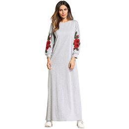 Мусульманская Абая Вышивка Макси Платье Хлопок Кимоно Цветок Длинный Халат Платья Свободный Стиль Джуба Рамадан Ближнего Востока Исламская Одежда