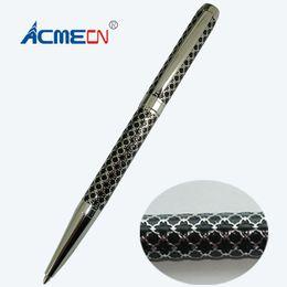 $enCountryForm.capitalKeyWord Australia - Unique Design Brass Ballpoint Pen Embossing Pattern 28g with brand refill Metal Slim Unisex Branded Pens Factory Writing Pens