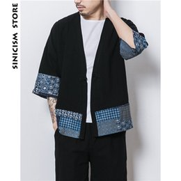 $enCountryForm.capitalKeyWord Canada - Sinicism Store Mens Jacket Coat Summer Thin Kimono Cardigan Coat Japan Vintage Windbreaker Patchwork Male Jackets Clothes 2018