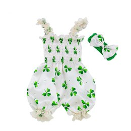 $enCountryForm.capitalKeyWord UK - Saint Patrick's Day Baby Bloomer Clothes Green Clover Cotton Sleeveless Romper Bib Pants+Hairband Summer Girl Jumpsuit Halter Shirt Clothes