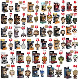 Marvel Heroes Toys Wholesale Canada - Funko POP Gxhmy Marvel Super Hero Harley Quinn Deadpool Harry Potter Goku Spiderman Joker Game of Thrones Figurines Toy 34 styles Keychain