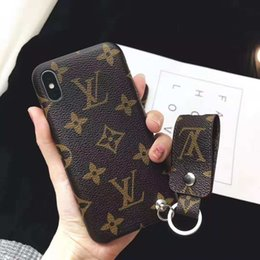 China Luxury Brand PU Leather Phone Case for IPhone 6 6s 7 8 Plus X XS MAX XR Back Cover Case with A Short Lanyard supplier surface tab suppliers