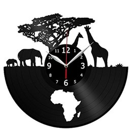 $enCountryForm.capitalKeyWord UK - wild animals vinyl record wall clock modern home decor crafts creative handmade Christmas gift wall art Simple Living room decoration clock