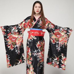 Discount japanese kimono cosplay costume - Hot Sale Printed Cosplay Costume Evening Dress Japanese Women Tradition Yukata Satin Kimono With Obi Flower Bath Robe Go