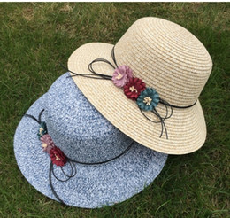 novelty flower hat NZ - Summer Women Sun Hats Fashion Design Ladies Flowers Wide Brim Straw Hats Girls Foldable Beach Panama Hat Female Church Hat Bone
