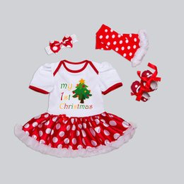 $enCountryForm.capitalKeyWord NZ - Baby Girl Christmas Tutu Skirts 0-24 Month Newborn Infant Romper Dresses Cotton Romper Dress+Shoes+Leg Warmers+Headband =4PCS Set