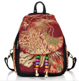 pocket books handbags 2019 - Phoenix Embroidery Women Vintage Backpack Shoulder School Book Travel Handbag Travel Satchel Shoulder Bag cheap pocket b