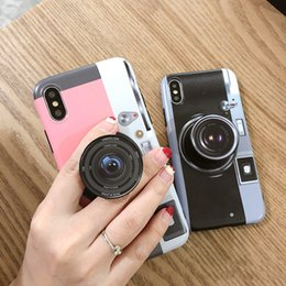 Wholesale Soft TPU Retro Camera Phone Case Cover with The Same Retro Camera Expandable Grip Phone Holder Universal Finger Cell Phone Holder for iphone