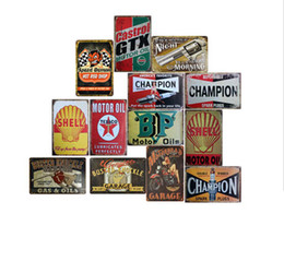 arte de metales al por mayor-20 cm Vintage Retro Muestra de metal Poster Americano Campeón favorito Champion Spark Plaque Club Wall Home Art Metal Pintar Decoración de la pared FFA717
