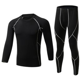 thermal suits Australia - New Winter Men Thermal Underwear Sets Fleece Warm Long Johns Breathable Thermo Underwear Quick Dry Top and Pant Suit Tights
