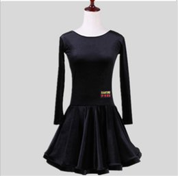 long sleeve costume latin NZ - New children Kids Girls Latin dance dress Long Sleeve Velvet chacha tango ballroom costumes Practice Dance Dress Competition clothing 6Color