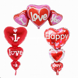 Wholesale 2 Sizes Baloon Big I Love You ang Happy Day Balloons Party Decoration Heart Engagement Anniversary Weddings Valentine Balloons