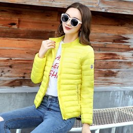 Wholesale white short down jacket resale online - 2018 Europe and America Fashion Short Jacket Women Autumn and Winter Thin Light Coat Female Cotton Padding Plus Size xl Coats