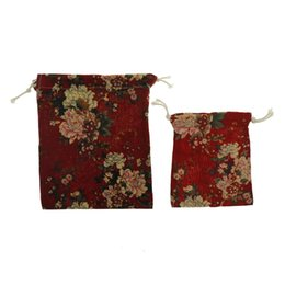 China Floral Red Peony Drawstring Travel Makeup Pouch Shoes Coon Storage Bag Eco-Friendly Shopping Tea candy key Package Bags cheap red tea package suppliers