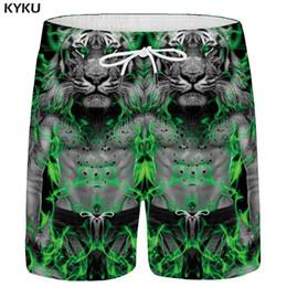 $enCountryForm.capitalKeyWord Australia - KYKU Brand Animal Shorts Men Tiger Casual Shorts Beach Muscle 3d Printed Short Pants Cargo Gray Mens Summer Hawaii New