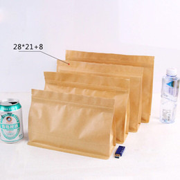 biscuit snack bags 2019 - Big Capacity Stand Kraft Paper Food Packaging Zip Lock Pouch Gift Candy Baking Snacks Biscuit Tea Package Storage Heat S