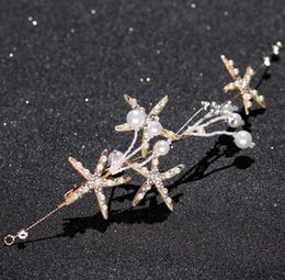 Discount starfish wedding hair - Pearl Sea Star headwear, bridal hair earring set, starfish hoop wedding dress accessories