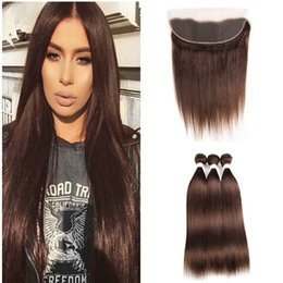 chestnut brown hair weave 2019 - Brown Hair Weaves With Lace Frontal Closure Virgin Brazilian Human Hair Color #4 Chestnut Brown Bundles With Ear To Ear