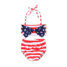 Wholesale red swimsuit hot online – 2018 Hot Summer Beach American Star Big Bow Tops Red Striped Briefs Split Swimsuits Two piece Halter Hanging Neck Swimsuit