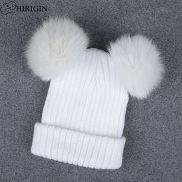 $enCountryForm.capitalKeyWord NZ - 1pcs Hat Female Winter Caps Hats For Women Warm Crochet Braided Knit Beanies Hat Warm Cap Genuine Fur Pom Lovely Skullies
