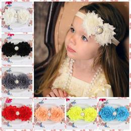 New Arrival Shabby Flowers Baby Headbands Hairband Chiffon Fabric Flower  Pearls Rhinestones Button 12 Colors Children Hair Accessories 7ea520de3b92