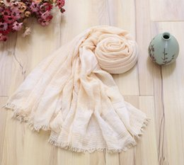 Wholesale Cotton Linen Scarves NZ - Cotton and Linen Fashion Scarf Lady Woman Use Candy Colors Plain Striped Vintage Style Spring and Autumn 180*90cm