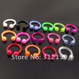 $enCountryForm.capitalKeyWord Canada - 100pcs Body Jewelry flexible Nose Ring 16G Soft Sprike Circulars Horseshoes Eyebrow Rings body Navel Piercing