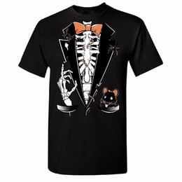 China Unique T Shirts Novelty Scary Rib Cage Tuxedo Bow Tie Men's T-shirt Mouse Costume Halloween Tee O-Neck Short-Sleeve Mens Tees suppliers