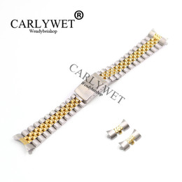 22mm stainless watch band Canada - CARLYWET 13 17 19 20 22mm Hollow Curved End Solid Screw Links Middle Gold Stainless Steel Replacement Watch Band Strap Bracelet