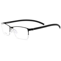 cf72a6e29d9 Men Titanium Reading Glasses Frame Square Prescription Eyeglasses Male Semi  Rimless Myopia Optical Korean Screwless Eyewear 2018