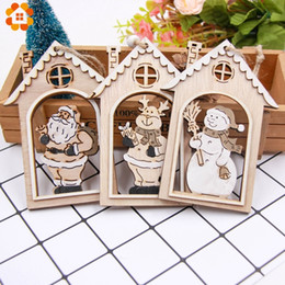 Gift Craft Christmas Ornament Australia - 3PCS Christmas Santa Claus Wooden Pendants Ornaments House Wood Crafts Kids Gift for Home Christmas Party Xmas Tree Decorations Y18102609