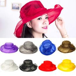 904c5eab5d7 Vintage Sun Hat for Women Elegant Summer Hat Wide Large Brim Big Net Yarn Flower  Caps Sea Beach Hats