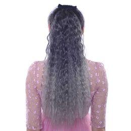 $enCountryForm.capitalKeyWord UK - 24inch women's deep wavy ponytails tie-in ombre color gray blue hair