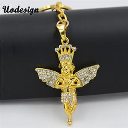 $enCountryForm.capitalKeyWord Canada - Uodesign Hip Hop Crown Angel keychain Metal Pendant Keychain Metal Key Ring for women&men's Jewelry