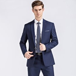 7e6b7c47f1252 Elegant Wedding Pant Suits Plus Size UK - 2018 Elegant Navy Blue Men Suits  Custom Made