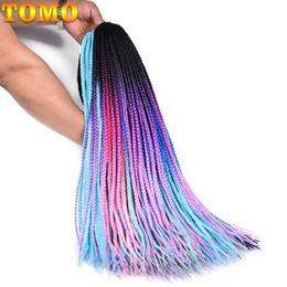 Bulk Hair Braids NZ - TOMO Hair 24Inch Box braids Ombre kanekalon Synthetic Hair For African Braid 30Roots 3S Bohemia Colorful Braiding Hair Bulk