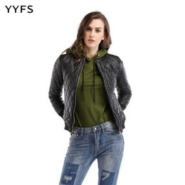 $enCountryForm.capitalKeyWord Canada - Punk Style Streetwear Cotton Argyle Short Jackets Zippers No Hooded PU Slim Jackets Womens Autumn and Coats