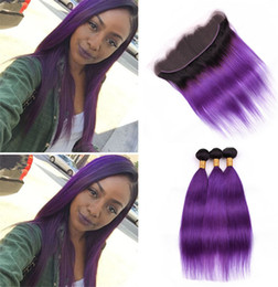 1b Straight Hair Australia - 2 Tone 1B Violet Ombre Hair Weaves with Lace Frontal Closure and Bundles Dark Roots Purple Ombre Straight Hair Extensions with Frontal