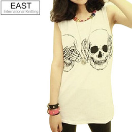 c8e42061ea4 EAST KNITTING FREE X0-265 Women t shirt 2015 New Fashion Ladies Clothes  Skull Print Vest Woman Skeleton tank Tops