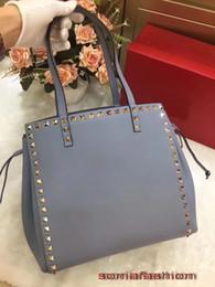 Blue Leather Bags Sale NZ - Hot sale new styles women bag genuine leather color rivet women shoulder bag tot Bags
